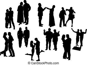 nero, dieci, silhouettes., vettore, couples, illustration., bianco