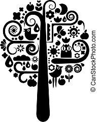 nero, ecologico, albero, bianco, icone