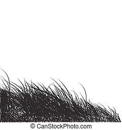 nero, erba, silhouette, fondo