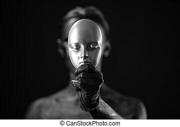nero, faccia, donna, foto, bello, arte