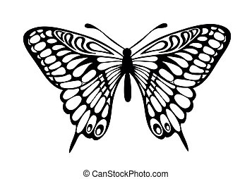 nero, farfalla, isolato, bianco