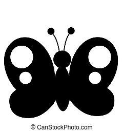 nero, farfalla, silhouette