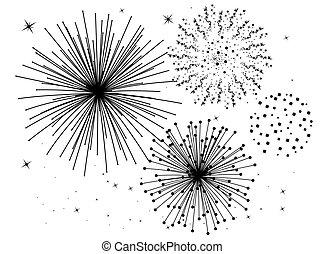 nero, fireworks, bianco