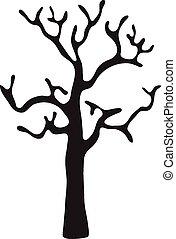 nero, foglie, vettore, albero, senza