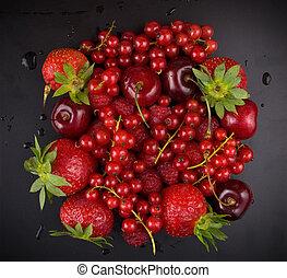 nero, frutta, fondo, fresco, rosso