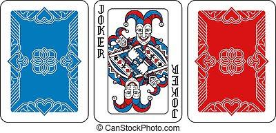 nero, gioco, burlone, rosso, indietro, scheda, blu