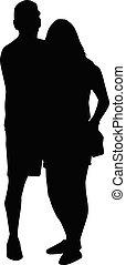 nero, giovane, silhouettes., persone., coppia