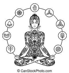 nero, icona, donna, yoga, decorativo, loto