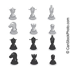 nero, illustrazione, set, scacchi, bianco