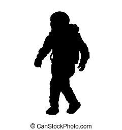 nero, isolato, completo, silhouette, spazio, astronaut., cosmonauta, spaceman.
