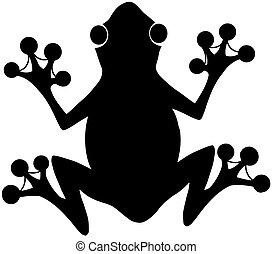 nero, logotipo, rana, silhouette