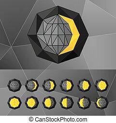 nero, luna, stile, fasi, triangolare, set, wireframe., icone