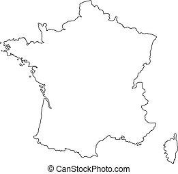 nero, map., vettore, francia, contorno, illustrazione