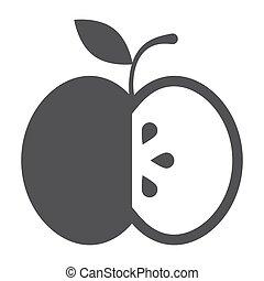 nero, mela, icona