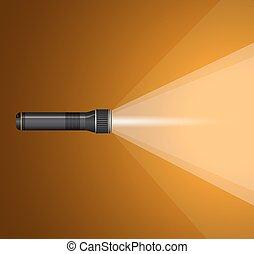 nero, metallo, raggio leggero, flashlight.