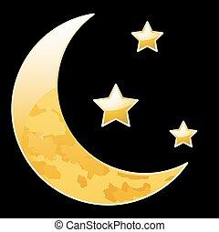 nero, mezzaluna, stelle, luna