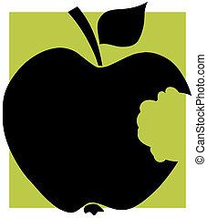 nero, morso mancante, mela
