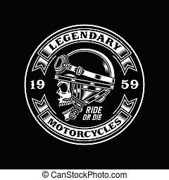 nero, motociclista, vendemmia, cranio, emblema
