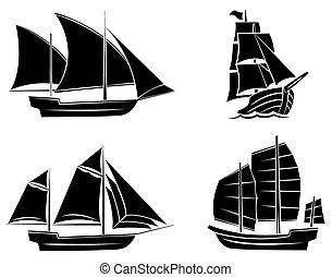 nero, nave, silhouette, collezione