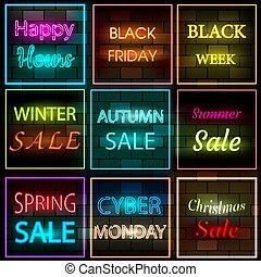 nero, neon, bandiere, brickwall, segni, luce, set, appartamento, fondo., ardendo, vendita, style., frames., elettrico