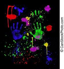 nero, neon, fingerpainting