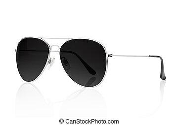 nero, occhiali da sole, aviatore