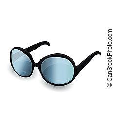 nero, occhiali da sole, vettore