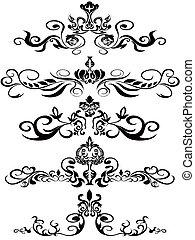 nero, ornamenti, floreale