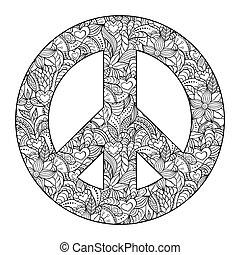 nero, pace, fondo, simbolo