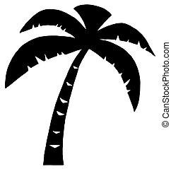 nero, palma, tre, silhouette