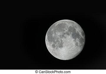 nero, pieno, cielo, luna