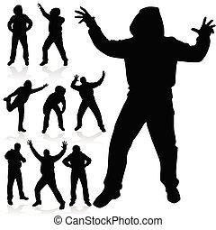 nero, pose, vario, silhouette, uomo