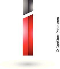nero rosso, lucido, lettera, rettangolare