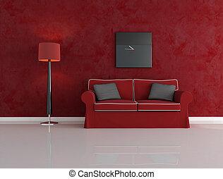 nero rosso, stanza, vivente