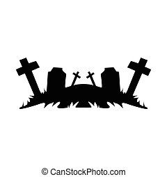 nero, ruins., cimitero, oggetti
