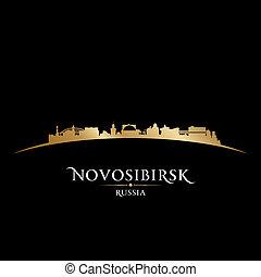 nero, russia, fondo, novosibirsk, orizzonte, città, silhouette
