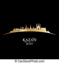nero, russia, fondo, orizzonte, città, kazan, silhouette