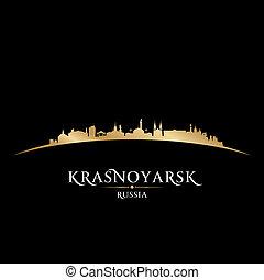 nero, russia, fondo, orizzonte, città, krasnoyarsk, silhouette