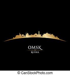 nero, russia, omsk, fondo, orizzonte, città, silhouette