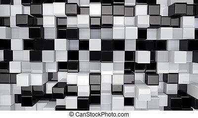 nero, scatole, 3d, bianco