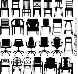 nero, sedia, set, silhouette
