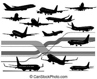 nero, sei, aeroplano, bianco