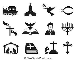 nero, set, cristiano, icone religiose