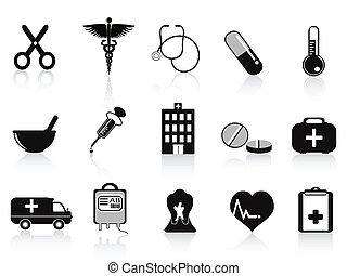 nero, set, icone, medico