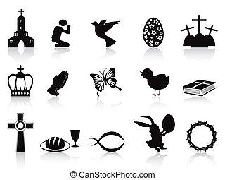 nero, set, pasqua, icone