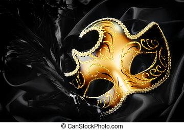 nero, seta, maschera, fondo, carnevale