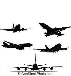 nero, silhouett, aeroplano, bianco