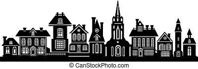 nero, silhouette, città