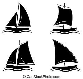 nero, silhouette, collezione, barca