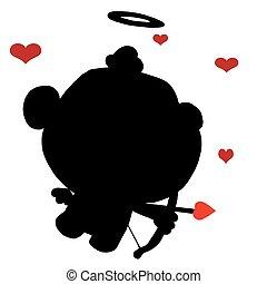 nero, silhouette, cupido